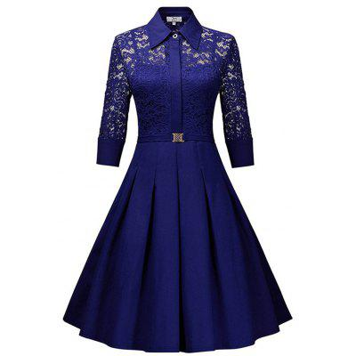 Temperament schlank Lady Sweet Solid Color Lace dünnes Kleid