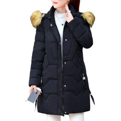 Women Winter Coats Long Cotton Casual Fur Hooded Jackets Ladies Warm Winter Coat