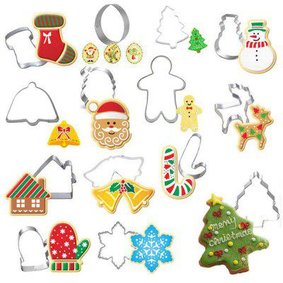 14Pcs Christmas Cookie Cutter Xmas Fondant Stampo in acciaio inossidabile