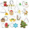 14Pcs Christmas Cookie Cutter Xmas Fondant Mold Stainless Steel - SILVER