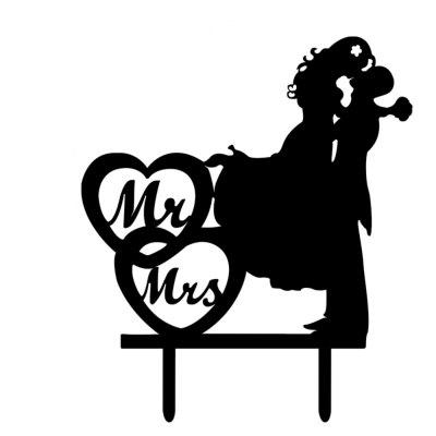 Double Heart Mr Mrs Hold Up Kiss The Bride Cake Insert Row