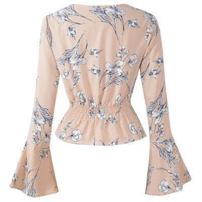 2018 Autumn/ Winter New V-Neck Printed Long Sleeved Chiffon Blouse Almond White