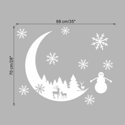 Christmas decorations stickers white moon snow elk wall stickers