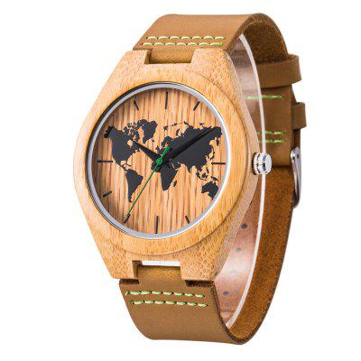 Men's Wooden Watch Real Cow Leather Strap Lightweight Natural Handmade Gift Box