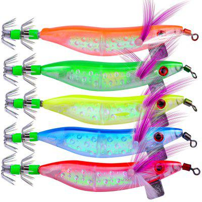 5Pcs Saltwater Hard Fishing Hook Squid Wood Shrimp Lure 10cm 8.1g Fishing Bait