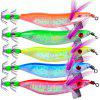 5Pcs Saltwater Hard Fishing Hook Squid Wood Shrimp Lure 10cm 8.1g Fishing Bait - MULTI
