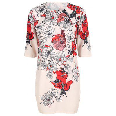 HAODUOYI Women's Hand-Painted Floral Print Slim Dress Multicolor