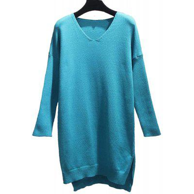Women's Long Sleeve V Collar Loose Sweater Dress