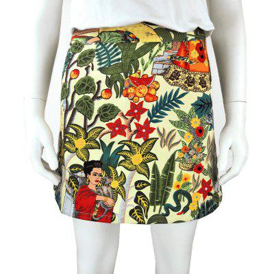 Women Flower Cartoon Slim A-line Mini Skirt