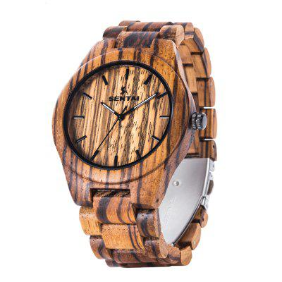 Купить Мужская серия Wood Watch Handmade Vintage Quartz Zebra, Gearbest