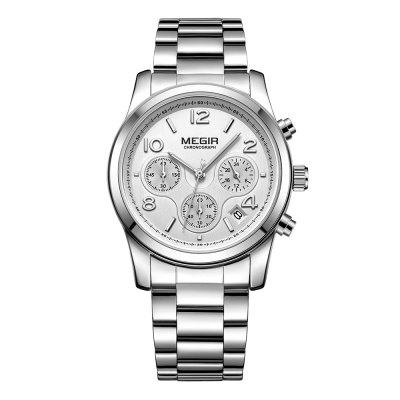 MEGIR Women  Calendar Waterproof  Watch Fashion Steel Band Table Watch Watch Box