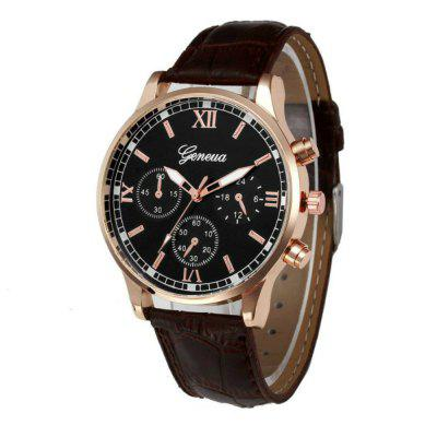 New Geneva Men Leisure Belt Creative Watch Dial Quartz Watch