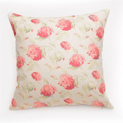 PCM034 Red Flowers Linen Throw Pillow Cover Square