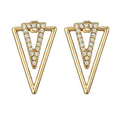 Inverted Triangle Shaped Hollow Out Rhinestone Women'S Ear Studs