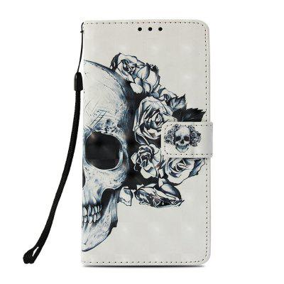 Skull 3D Painted PU Mobile Phone Case for Huawei Mate 20 Lite