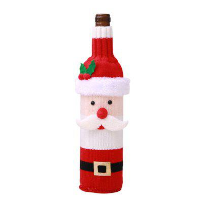 Christmas Wine Bottle Sweater Wine Knitted Sweater Set Cover for Decoration
