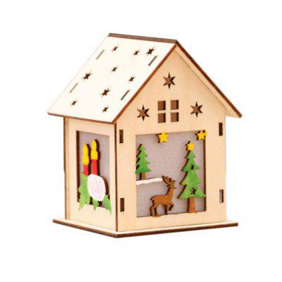 Cute Luminous Hanging LED Wooden House Decoration for Christmas Party