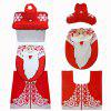 Santa Toilet Seat Cover Set Christmas Decorations Bathroom Set of 3 Red - RED