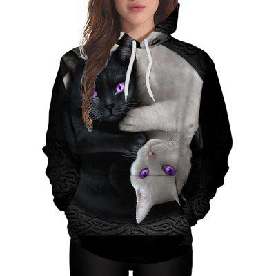 3D Winter Sports Fashion Yin and Yang Cat Print Ladies Hoodie