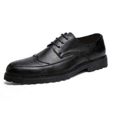 Men Solid Brogue Casual Leather Shoes