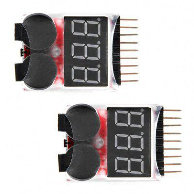 2Pcs RC 1-8s Lipo Battery Monitor Niederspannungssummer mit Alarm LED Lndicator
