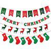 4Pcs Merry Christmas Fabric Hanging Bunting Banner Flag Sign Christmas Party - MULTI