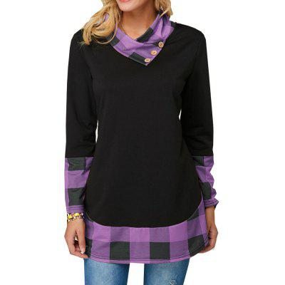Women'S Plaid Patterned Tops Irregular Long-Sleeved T-Shirts