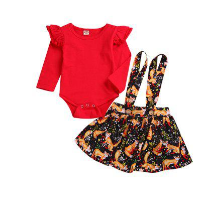 Overseas Hot New Products Long Sleeved Red Blouse and Fox Printed Apron Skirt T