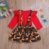 Overseas Hot New Products Long Sleeved Red Blouse and Fox Printed Apron Skirt T - RED