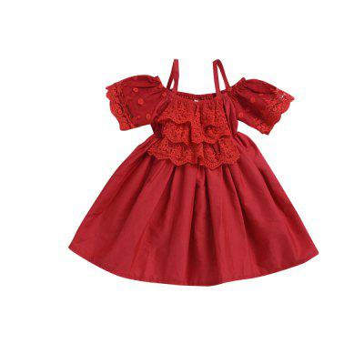 European and American Girls' Red Harness Lace Dress