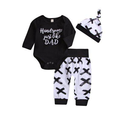 Printed English Letters/Black Top/Hat/Trousers/Three-Piece Set