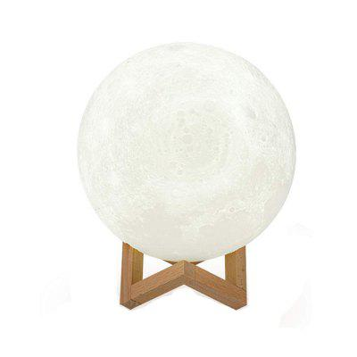DILAKE Ligh 3D Printed Moon LED Baby Night Light  Wooden Base Touch
