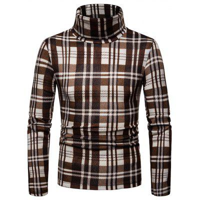 Men'S Casual Turtleneck Sweater Plaid Long Sleeve Shirt
