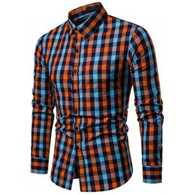 Pánská mikina Lapel Slim Fit Plaid Long Sleeve Shirt