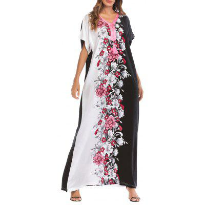 Women Casual Floral Print V Neck Maxi Dress Middle East Long Sleeve Dress
