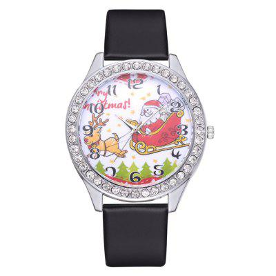 XR2970 Christmas Gift Watch Cute Cartoon Elk Old Mirror Quartz Watch PU Watch