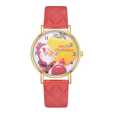 XR2962 Santa Claus Gift Watch Classic PU Plaid Student Watch