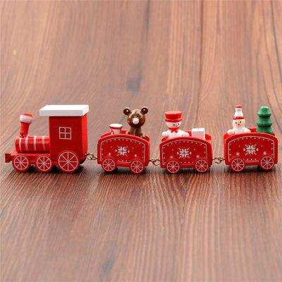 New Christmas Train Painted Wood with Snowman/Bear Xmas Kid Toys Gift Ornament