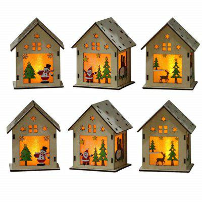 3Pcs Glowing Hanging LED Wooden DIY House Decoration for Christmas Party