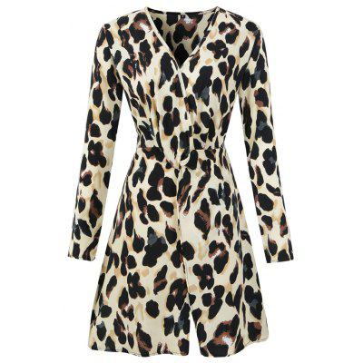 2018 Autumn/ Winter New V-Neck Leopard Long Sleeved Chiffon Dress(Beige Leopard)