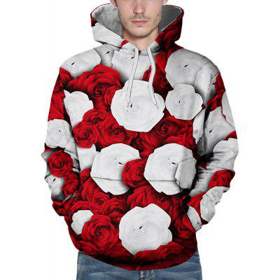 3D Winter Sports Red and White Rose Print Mens Hoodie