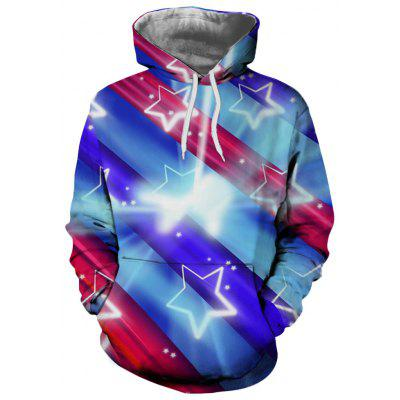 Fashion Lady Print Five-Pointed Star Figure Hoodie