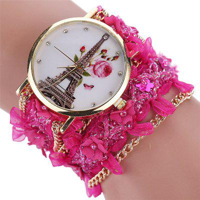 Ms Spinning Cloth Nail Bead Bracelet Watch Quartz Watch