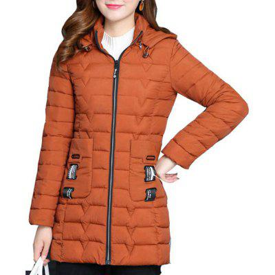 Plus Size Middle Long Cotton-padded Jackets