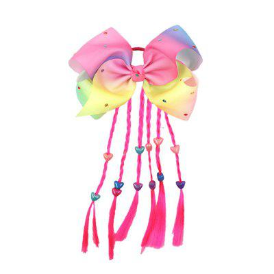 Color Twisted Hair Ring Threaded Bow with Bow Hair Rope Children'S Flash Drill