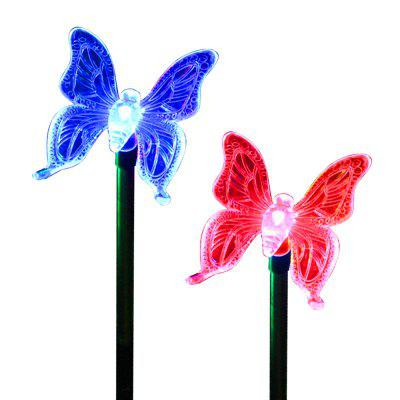 2 pack Solar Color Changing Outdoor Garden Pathway Stake LED Butterfly Light