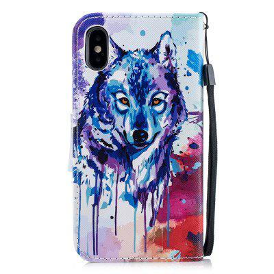 Wolf protection leather case flip phone case for iPhone X
