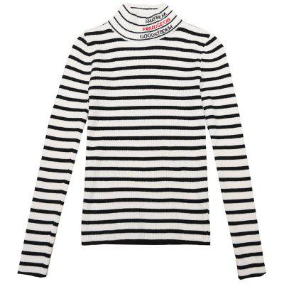 Women's Striped Long Sleeve Turtleneck Sweater