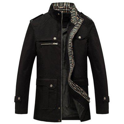 New Men Fashion Full Sleeve Stand Collar Cotton Solid Coat Casual Trench Coat