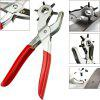 Leather Belt Hole Sewing Puncher Revolve Repair Tool Watchband Strap Punch Plier - RED